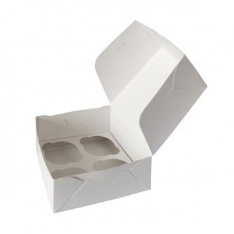 Коробка на 4 капкейка из белого картона