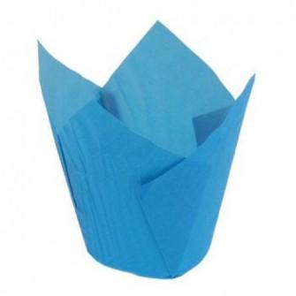 Форма бумажная Тюльпан 50*80 мм (голубая), 180 шт