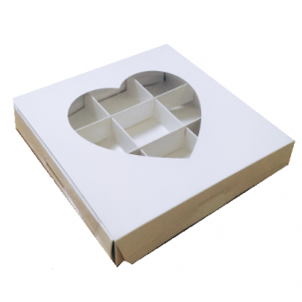 Коробка на 9 конфет, белая