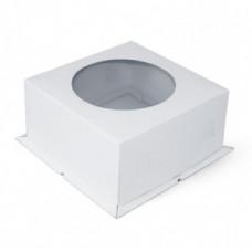 Коробка белая с окном 30*30*19 см, Хром-Эрзац