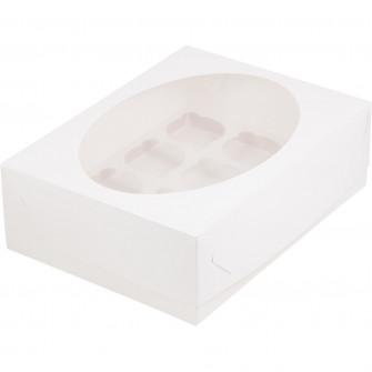 Коробка на 12 капкейков с окном, белая
