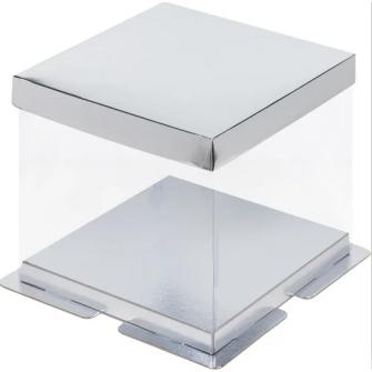 Коробка прозрачная 23,5х23,5х22 см, серебро