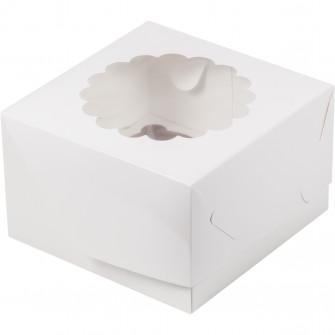 Коробка на 4 капкейка с окном, белая