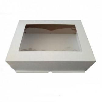 Коробка белая с окном 30*40*12 см, Микрогофра