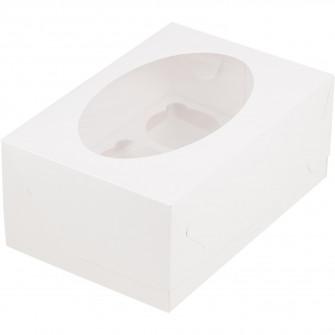 Коробка на 6 капкейков с окном, белая