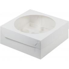 Коробка на 9 капкейков с окном, белая