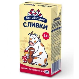 """Натуральные сливки """"Белый город"""" 33%, 0,5 л"""