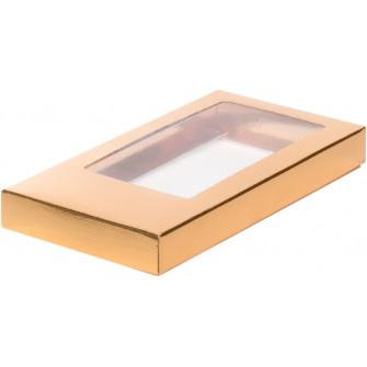 Коробка д/шоколадной плитки золотая, 18х9х1.7 см