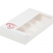 Коробка для эклеров с разделителем на 5 шт, белая