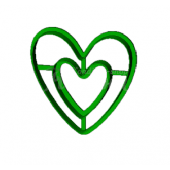 "Форма для пряников ""Двойное сердце №2"", 9 см"