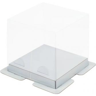 Коробка прозрачная 15х15х15 см, серебро