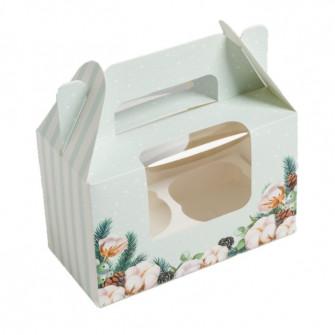 "Коробка на 2 капкейка ""Шишкин лес"", 16х10х8 см"