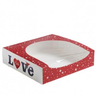 "Коробка красная с окном ""LOVE"", 20х20х5 см"