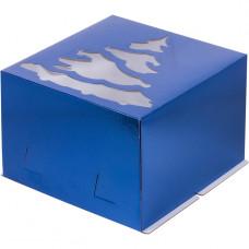 """Коробка синяя с окном """"Елка"""", 30х30х19, Хром-Эрзац"""
