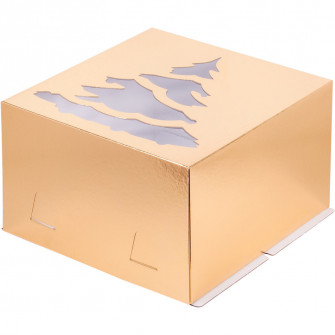 "Коробка золотая с окном ""Елка"", 30х30х19, Хром-Эрзац"