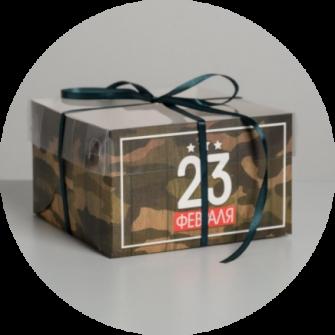 """Коробка на 4 капкейка с окном """"23 февраля"""""""