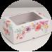 """Коробка на 6 капкейков с окном """"Цветы"""""""