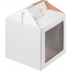 Коробка 20х20х20 см белая с ручкой и окном, гофра