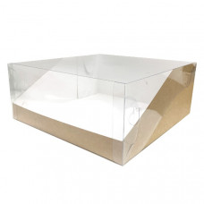 Коробка крафт с прозрач.крышкой 23,5х23,5х10 см
