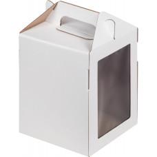Коробка 16х16х20 см белая с ручкой и окном, гофра
