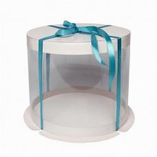 Коробка для торта круглая прозрачная белая, D300 h284 мм