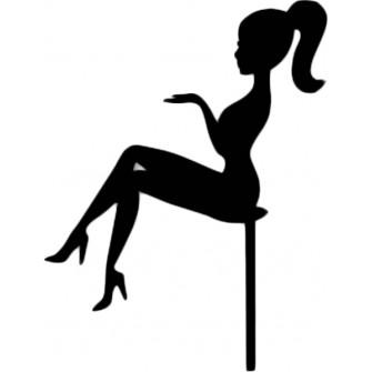 """Топпер """"Девушка сидит с хвостиком"""" черный, 15 см"""