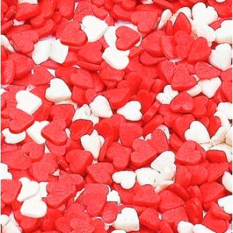 """Посыпка """"Сердечки красно-белые мини"""", 75 гр"""
