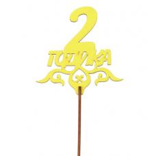 "Топпер ""2 годика"" 10,5х10,7 см, жёлтый"