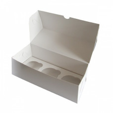 Коробка на 3 капкейка из белого картона