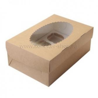 Коробка на 6 капкейков с окном, крафт