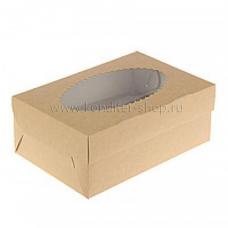 Коробка на 2 капкейка с окном, крафт