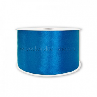 Атласная лента синяя 6 мм