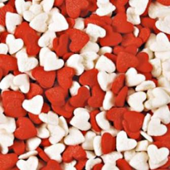 Посыпка Сердечки красно-белые, 75 гр