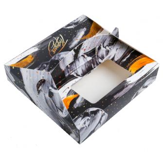 Коробка черно-белая, 20х20х5 см