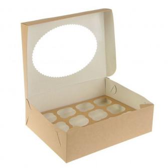Коробка на 12 капкейков с окном, крафт