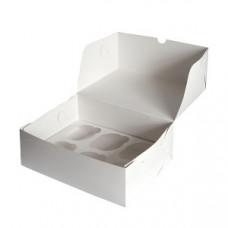 Коробка на 6 капкейков из белого картона