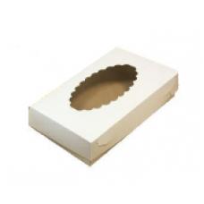 Коробка для эклеров с окном 24х14х5 см, белая