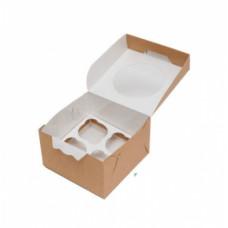 Коробка на 4 капкейка с окном, крафт