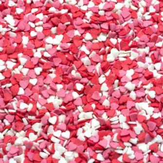 """Посыпка """"Сердечки красно-бело-розовые мини"""", 75 гр"""