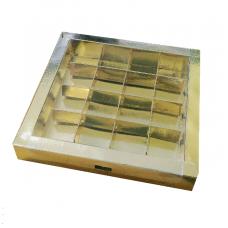 Коробка на 16 конфет, золотая