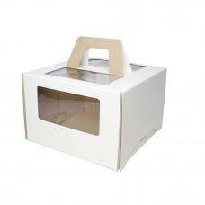 Коробка 30,5*30,5*20,5 см белая с ручкой и окном