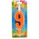 Свеча для торта 9 оранжевая 12 см