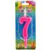 Свеча для торта 7 розовая 12 см