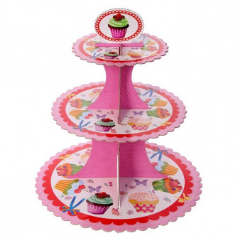 Подставка для капкейков трехъярусная розовая
