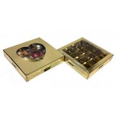 Коробка на 9 конфет, золотая
