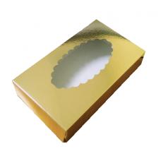 Коробка для эклеров с окном 24х14х5 см, золотая