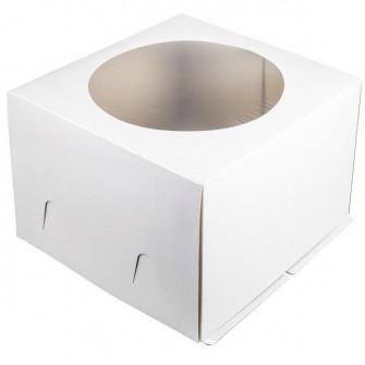 Коробка белая с окном 24*24*24 см гофрокартон