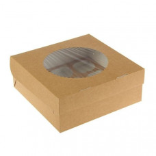 Коробка на 9 капкейков с окном, крафт
