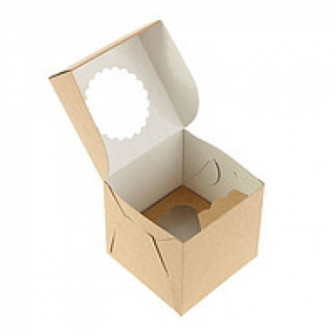 Коробка на 1 капкейк с окном, крафт