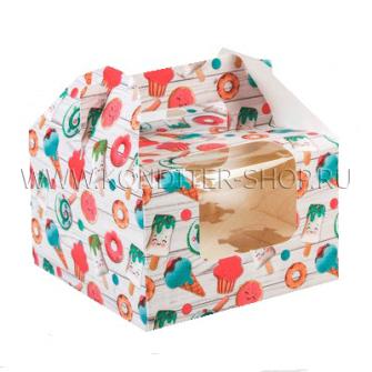 """Коробка на 4 капкейка """"Вкусняшка"""""""